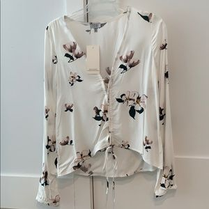 Tobi long sleeve floral top with ties size S